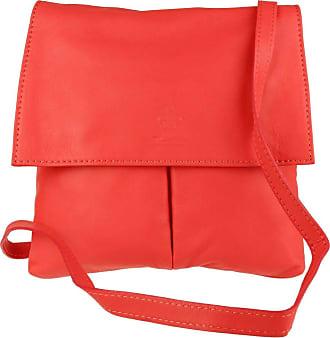 Girly HandBags Girly HandBags Double Pocket Italian Leather Messenger Bag - Coral