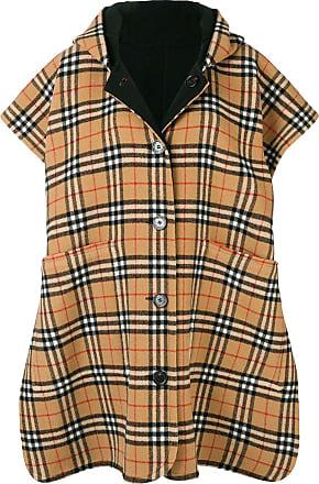 0d2f2bf5b86 Burberry Reversible Vintage Check Hooded Poncho - Black