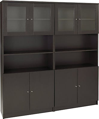 Unique Furniture 100 Series Double Bookcase with Doors - 100COMBO21-WAL