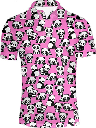 Hugs Idea Mens Golf Polos Shirt Pandas Adorable Pink Short Sleeve Casual Hipster T-Shirt, Pink
