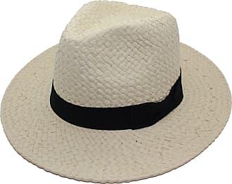 Tom Franks Unisex Paper Straw Crushable Foldable Summer Panama Fedora Hat with Black Band (L/XL, Beige)