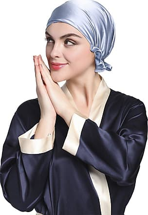 LilySilk Womens 100% Silk Sleeping Cap Hat With Ribbon Bonnet Head Cover 19 Momme Real Pure Mulberry Silk Charmeuse Light Blue 7004