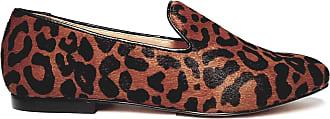 Carrano Sapato Loafer Feminino em Couro com Pêlo Animal Print Carrano 136906D-37-Marrom