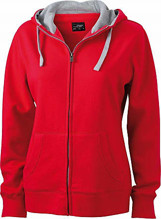 James & Nicholson JN962 Ladies Lifestyle Full Zip Hoodie Sweat Jacket red/Grey Heather Size XL