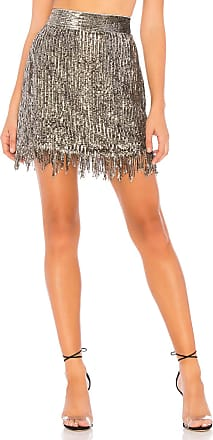 X by NBD Xavi Embellished Sequin Skirt in Metallic Silver