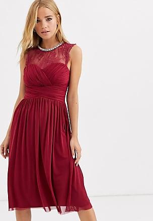 Lipsy Vestito midi lampone arricciato con carré di pizzo e scollo decorato-Rosso
