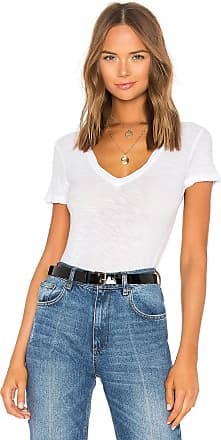 James Perse Casual V Neck Tee with Reverse Binding in White