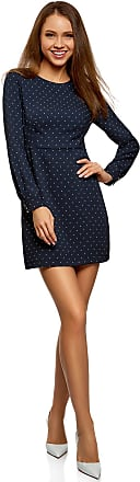 oodji Collection Womens Printed Dress with Back Zipper, Blue, UK 16 / EU 46 / XXL