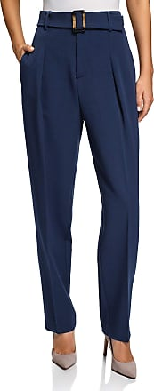 oodji Collection Womens High-Waisted Wide Leg Trousers, Blue, UK 10 / EU 40 / M