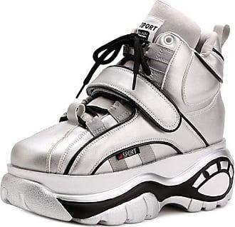 RAZAMAZA Women Fashion Sneaker Shoes Platform Casual Walking Shoes Wedge Heel Leisure Shoes Hidden Heel High Top Velcro Silver-bujiamao Size 39