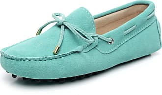 Jamron Womens Classic Suede Bow Tie Loafers Comfort Handmade Slipper Moccasins Light Green 24208-2 UK7