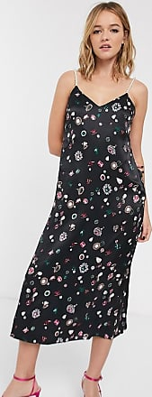 & Other Stories jewel print pearl strap cami dress in black