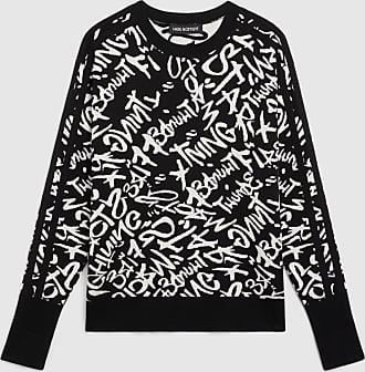 Neil Barrett Lightning Graffiti Silk & Cotton Knit Sweater