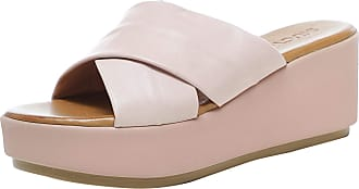 Inuovo Womens Leather Crossover Wedge Sliders 8 Pink