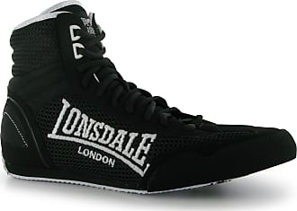 Lonsdale Mens Contender Boxing Boots Mid Cut Full Lace Up Lightweight Shoes Black/White UK 9.5