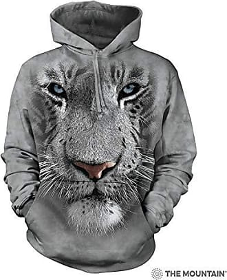 The Mountain White Tiger Face Hsw Adult Hoodie, Grey, XL
