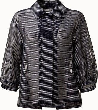 Akris Pin Dot Organza Jacket with Puff Sleeves