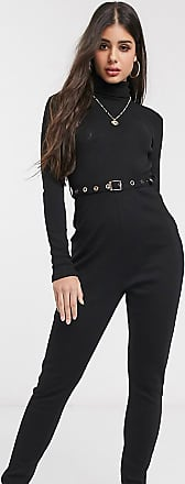 Missguided Tall belted jumpsuit in black rib