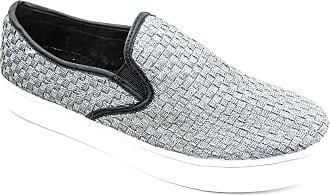 bernie mev. Womens Verona Woven Slip-On Sneaker (Pewter, 5)