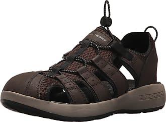 Skechers Men 51834 Open Toe Sandals, Brown (Brown Leather/Mesh/Black Trim), 12 UK (47.5 EU)