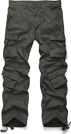 OCHENTA Mens Cotton Casual Military Army Camo Combat Trousers,Wild Cargo Pants with 8 Pockets 3357 Dark Grey 38