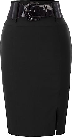 Belle Poque Ladies Elegant Office Formal Belted Stretchy Pencil Skirts High Waist Black(762-1) Medium