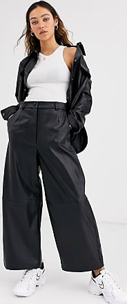 Weekday regina PU wide leg trouser in black