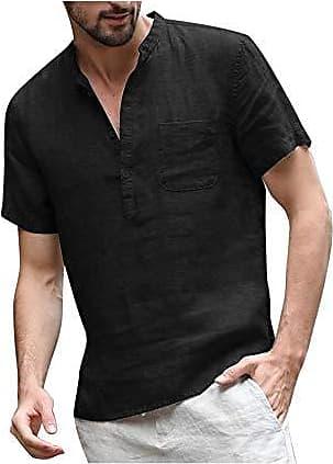 COOFANDY Herren Leinenshirt Kurzarm Stehkragen Leinen mit Brusttaschen Sommer Slim Fit Casual Leicht Freizeit Shirts f/ür M/änner