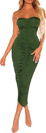 QIYUN.Z Off Shoulder Ruched Sexy Summer Dress Women Backless Bodycon Mini Dress Army Green 2XL