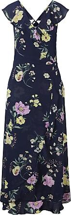 Tom Tailor Volantkleid in Maxi-Länge mit floralem Print, Damen, navy blue flower print, Größe: M