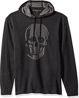 John Varvatos Mens Long Sleeved Pullover Hoody, Charcoal Heather Small