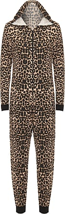 WearAll Womens Animal Aztec Zebra Print Onesie Ladies Playsuit Long Hooded Jumpsuit - Brown - 12/14