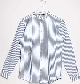 Bershka Hemd mit Grandad-Kragen und vertikalen Streifen in Blau und Weiß