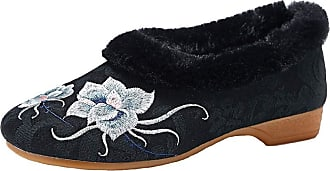 ICEGREY Womens Embroidered Chinese Style Loafers Shoes Low Heel Booties Black 8.5