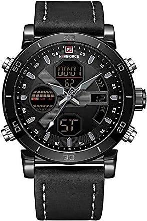 NAVIFORCE Relógio Masculino Naviforce NF9132 BGYB Pulseira em couro - Preto e Cinza