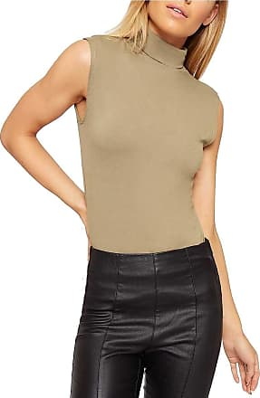 Crazy Girls New Womens Sleeveless Ladies Stretch Turtle Polo Roll Neckline Vest Plain T-Shirt Top Plus Size 8-22 (16-18, Mocha)