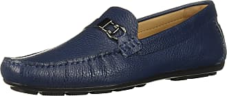 Driver Club USA Mens Leather Made in Brazil Side Metal Detail Driving Loafer, Ice Blue Grainy, 9
