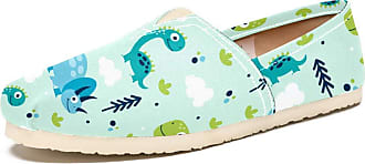 Tizorax Cartoon Dinosaurs and Cloud Mens Slip on Loafers Shoes Casual Canvas Flat Boat Shoe