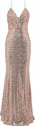 Badgley Mischka Badgley Mischka Woman Wrap-effect Sequined Mesh Gown Blush Size 2
