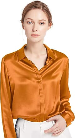 LilySilk Womens Charmeuse Silk Blouse Long Sleeve Ladies Top Shirt 100% Pure 22 Momme Silk Caramel Size 16/L