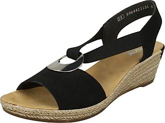 Rieker Womens Morokko Elasticated Wedge Heeled Sandals 624H6-00 6.5 UK Black