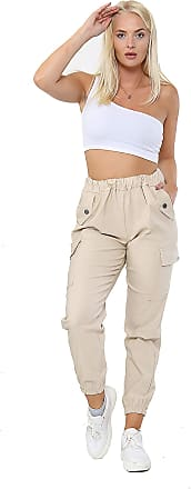 Parsa Fashions Women Italian Pocketed Trouser (12-14, Beige)