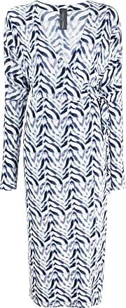 Norma Kamali Vestido envelope chevron com estampa de zebra - Azul