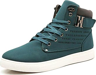 TOMWELL Mens Sneaker Canvas Trainer Casual Lace Up Shoes Mid Low Top Fashion Espadrilles with English Print and Belt Buckle Decor Green UK 11