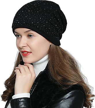 DonDon Womens Slouch Beanie with strass rhinestones and soft inner lining - Black