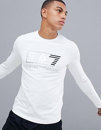 Emporio Armani EA 7 Vit långärmad t-shirt med stor logga - Vit ab5668fbe5dcf