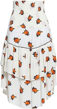 344992495c Ganni Ganni Woman Roseburg Shirred Floral-print Washed-crepe Midi Skirt  Off-white
