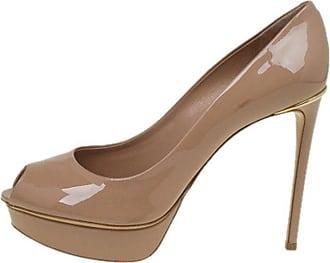 0b25d35b1091 Louis Vuitton Beige Patent Leather Eyeline Peep Toe Platform Pumps Size 39