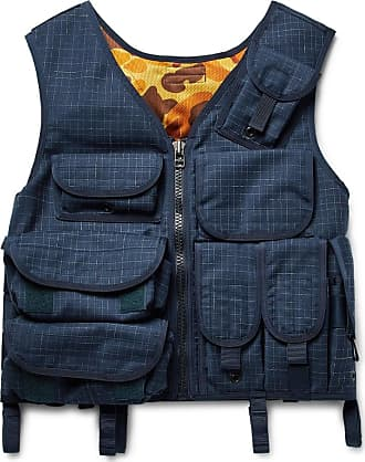 Junya Watanabe Grosgrain-trimmed Checked Wool Gilet - Navy