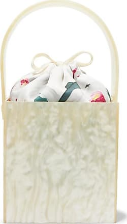 Montunas Stelis Marbled Acrylic And Silk-satin Tote - White